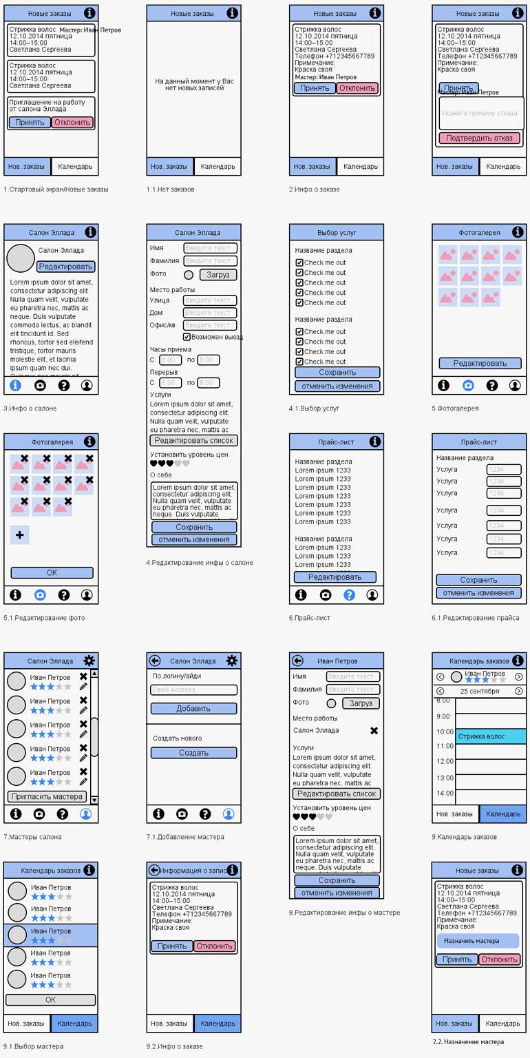 Прототипы мобильного приложения